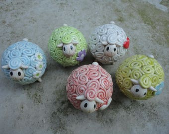 Ceramic sheep - handmade coloured ceramic sheep- MADE TO ORDER