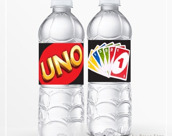 UNO Card Game Party Water Bottle Label printable / diy