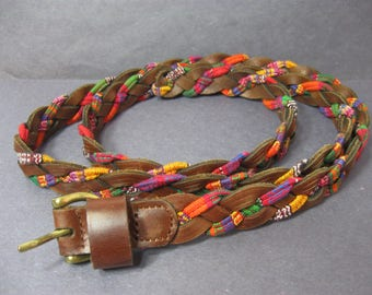 Vintage Brown Leather Belt Woven with Multicolor Cotton Fabric Size XL