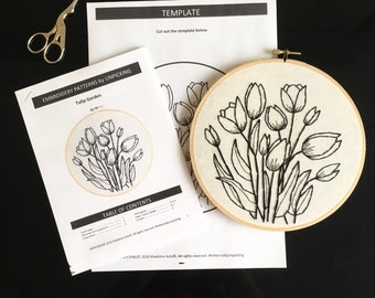Embroidery Patterns By Unpicking / Tulip Garden / Hand Embroidery Art DIY Pattern Craft Flowers Blackwork
