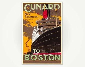 Cunard Steamers To Boston Vintage European Travel Poster Art Print - Vintage Boston Travel Poster