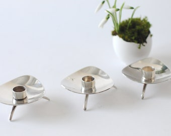 Carl Cohr - Three Danish modern Candlestick holders - ATLA Denmark 1959. Silver Plate. Candle Modernist. Petite Tapers