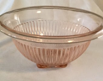 Antique Federal Glass Pink Glass Ribbed Mix Bowl
