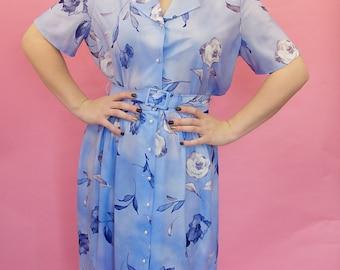 Lovely pale blue flower print 1980s dress