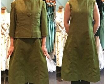 Vintage 1960s Olive Green Brocade Dress and Jacket Set Size 7/8