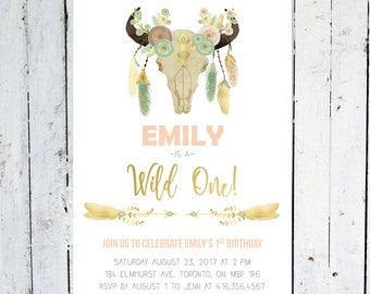 First Birthday Invitation Girl, Wild One, Tribal, Boho, Floral, Watercolor, Antlers, Feathers, Gold, Pink, Mint, Antlers, Printed, Printable