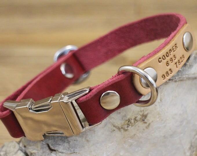 FREE ID TAG, Dog collar, Clip collar, Handmade leather collar, Pet gift, Metal side release buckle, XLarge collar, XSmall collar.
