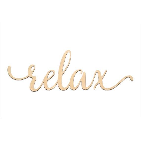 Relax script word wood sign wooden words art