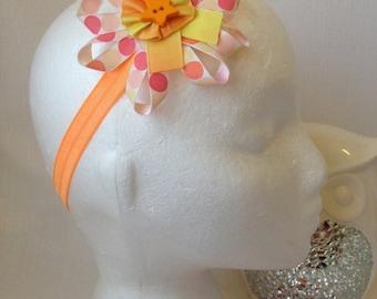 Orange Dotty Flower Headband