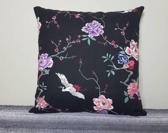 "Japanese print cushion cover, 18"", cherry blossom and crane, japanese inspired, cherry blossom print, japanese print. 45x45cm"