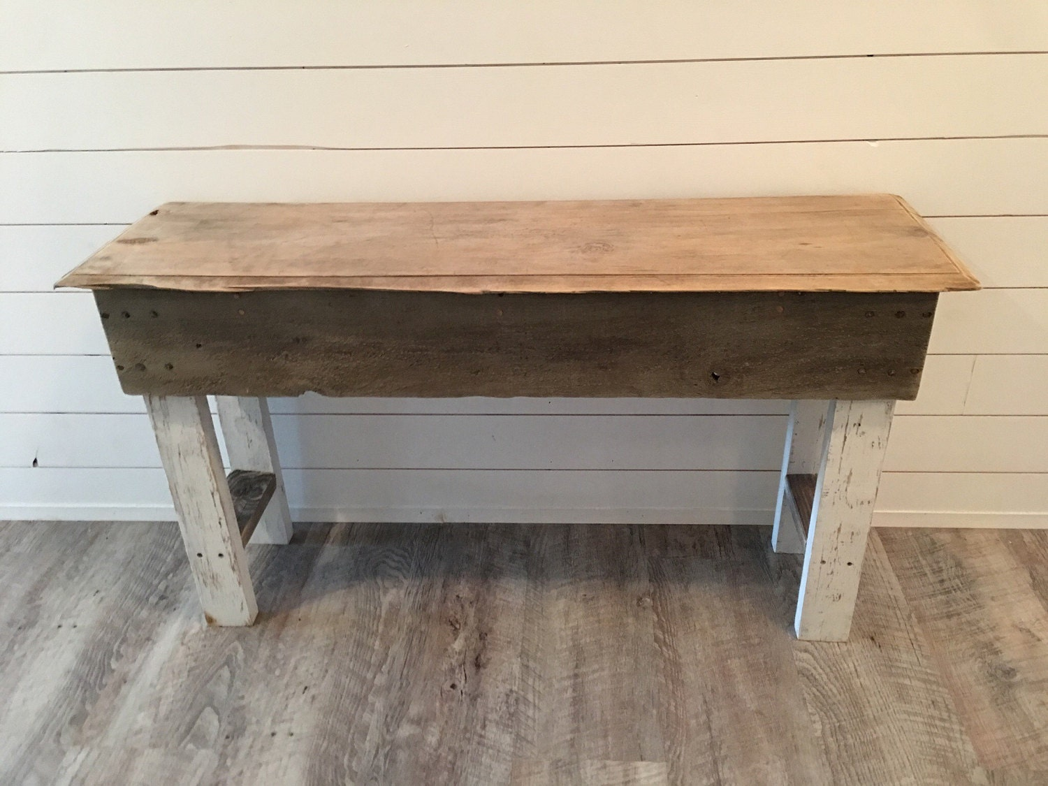 Rustic end table made with reclaimed barn wood local pickup for Local reclaimed wood