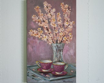 Oridjinal oil painting Tea cup art Apricot blossom Pink peach art Spring painting still life Home decor painting Wall art Gift for her