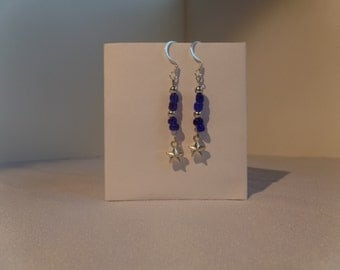 Silver Star Earrings with Blue Beads