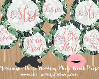 Martinique Themed Wedding Photo Booth Props Instant Downloads, Digital File, PDF