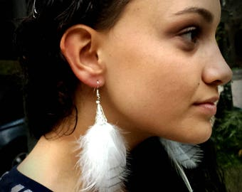 Rare Whit Bellied Sea Eagle feather earrings