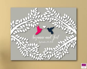 Wedding Guest book Alternative canvas, Hummingbirds Wedding Guest book canvas, Signature Tree Canvas, 200 Leaves to sign during Wedding