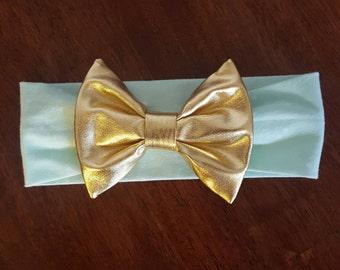 Mint and Gold Knit Bow Headband