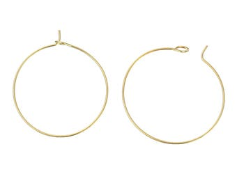 50 Gold Plated Wine Charm Hoops 34mm (B197e)