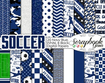 """SOCCER Futbol Digital Papers Navy Blue & White 20 Pieces, 12"""" x 12"""", High Quality JPEGs Instant Download Commercial barcelona spain madrid"""