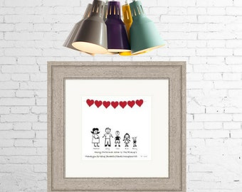 Framed Personalised Family Print with Red Hearts - Any Family Members & Pets ~ New Home ~ Housewarming