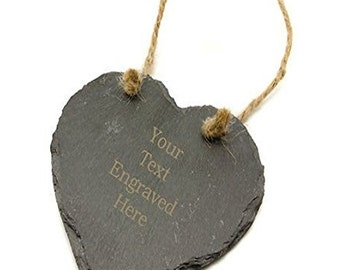 Personalised Slate Heart with Laser Engraved Text, Any Occasion Gift, Any Message Engraved