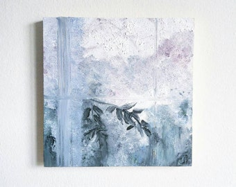 Foggy Window | Small Oil Painting | Abstract Art | Botanical | Home Decor