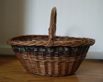 Hand Made Hand Woven Basket Oval Victorian Style Painted Market Basket, Hand Basket