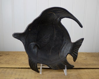 Mid Century Modern Cast Iron Fish Ashtray Fish, JapanCast Iron Fish Dish, Trinket Dish Made in Japan