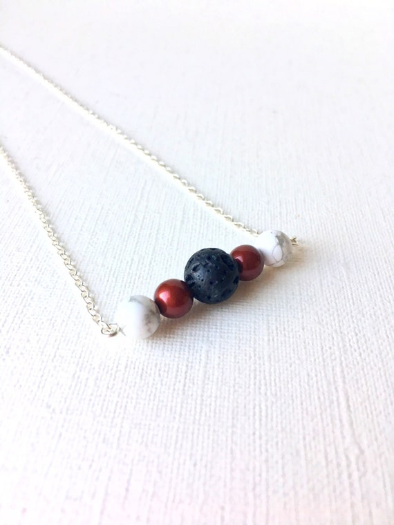 Essential Oil Diffuser Necklace - sterling silver necklce - Black, white, and cranberry red - 18""