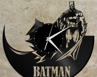 Batman Clock - Vinyl Record Clock, Wall Clock, Modern Wall Art, Vinyl Wall Clock, Batman Art, Batman Gift