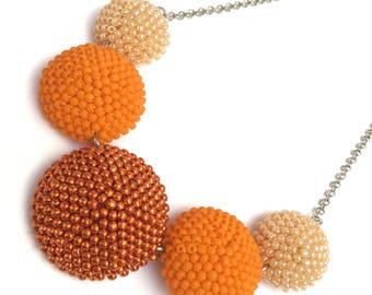 Crochet Necklace-Bead Necklace-chabochon-chabochon-Necklace Pendant Necklace Bead crochet necklace-SuiTe-orange neckl