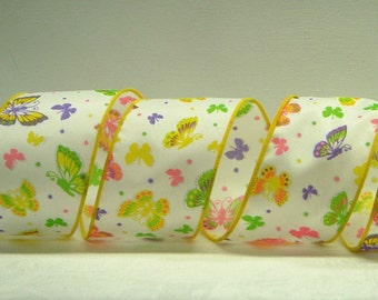 Wired Spring Ribbon ~ 2.5 inch  White Ribbon with Various Sized Colorful Butterflies ~ for Crafts, Wreaths, Bows or Home Decor ~ 3 Yards