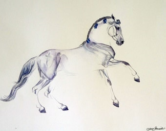 Purple and Blue Andalusian Giclee Art Print