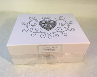Personalised White Wedding Keepsake Box, Memory Box