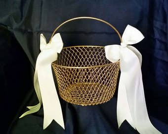 Gold Flower girl basket, gold basket