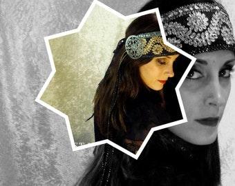 Golden Brocade headband, silver and black