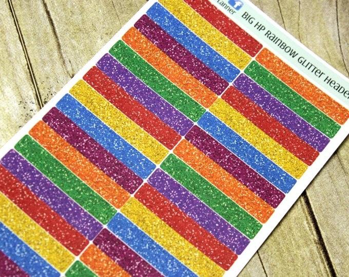 BIG HP Planner Stickers - Rainbow Glitter Header Sticker - Erin Condren Life Planner - Happy Planner - Rainbow Stickers - Glitter Stickers