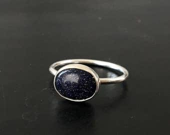 Glittery Blue Purple Sterling Silver Ring