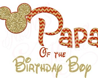 Papa Birthday Boy Minnie Mickey Red Gold  Mouse Mom Birthday Boy Shirt DIY Iron On Digital Art Matching Red Black Dot Birthday