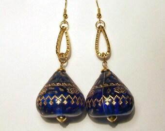Vintage Bauble Earrings Blue Gold Statement Ethnic Huge Tribal Boho 1970s 80s Large Dangle