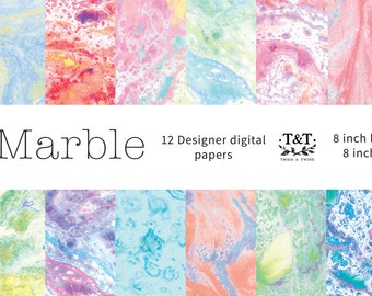 "Marble background patterned Papers. These 8""x8"" printable papers, create modern backgrounds for design projects."