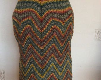 A decorative pattern on this multicolored skirt