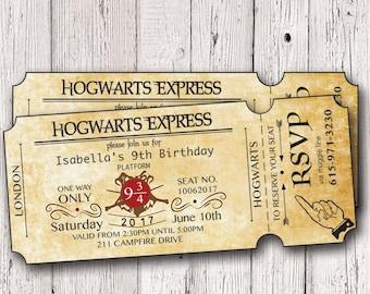 Harry Birthday TIcket Invitation, Wizard Birthday Invitation, HPotter Party Invites, Potter party ticket Invitation