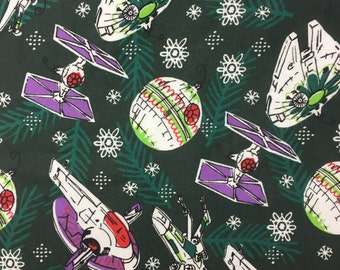 "Star Wars Licensed Christmas Fabric, by the half yard, 44"" cotton flannel, star wars ornaments, millenium falcon, star wars flannel"