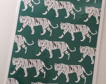 Tiger Print Teal wall art- print for living room/bedroom/kids room