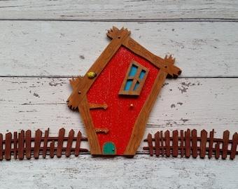Fairy Door Elf or Hobbit door Crooked Red door with a mini mouse door Exclusive design. Handmade
