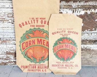 Set of 2 Vintage New Old Stock Corn Meal Bags - Ephemera - General Store - Kitchen