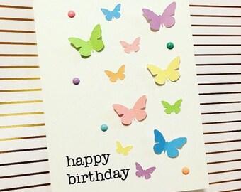 Birthday Card- Butterflies- Handmade Card
