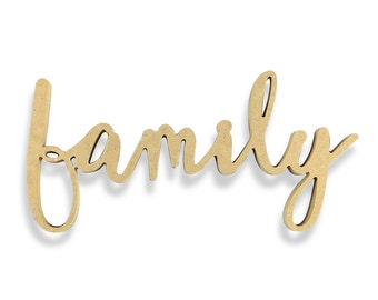 Family Sign | Family Wood Sign | Unfinished Word Cutout | DIY Words | Word Cutouts | Word Cut Out