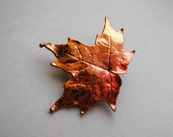 Vintage Copper Dipped Maple Leaf Brooch